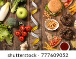 fast food or health food | Shutterstock . vector #777609052