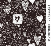funny doodle hearts icons... | Shutterstock . vector #777611635