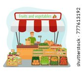 local farm fruits and... | Shutterstock .eps vector #777613192