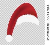 red santa hat on transparent... | Shutterstock .eps vector #777617566