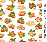 seamless pattern with nuts.... | Shutterstock .eps vector #777618046