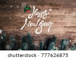happy new year greeting text on ... | Shutterstock . vector #777626875