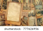 vintage photo cards collage on... | Shutterstock . vector #777626956
