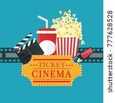 popcorn and drink. film strip... | Shutterstock .eps vector #777628528