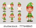 boy cute elf christmas santa... | Shutterstock .eps vector #777648865