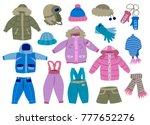 collection of winter children's ... | Shutterstock .eps vector #777652276