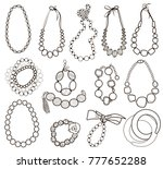 collection of gold jewelery... | Shutterstock .eps vector #777652288