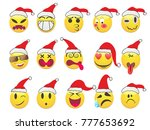 christmas smiley face icons set  | Shutterstock .eps vector #777653692