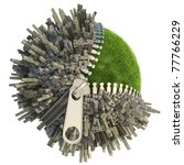 conceptual miniature planet with an open zip fastener for environmental change isolated on white - stock photo