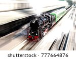 toned. old black and red steam...   Shutterstock . vector #777664876