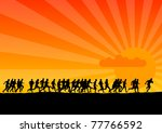Black Silhouettes Of Runners O...