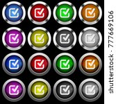 checkmark white icons in round... | Shutterstock .eps vector #777669106