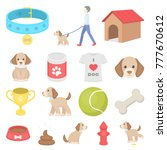 pet dog cartoon icons in set... | Shutterstock .eps vector #777670612