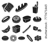 types of bread black icons in... | Shutterstock .eps vector #777671665