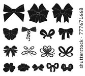 multicolored bows black icons... | Shutterstock .eps vector #777671668