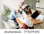 group young coworkers having... | Shutterstock . vector #777679192