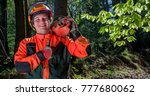 young and positive lumberjack... | Shutterstock . vector #777680062