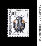 Small photo of MOSCOW, RUSSIA - NOVEMBER 23, 2017: A stamp printed in France shows Alpine Ladybird (Adalia alpina), Timbre taxe serie, circa 1983