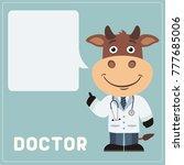 bull doctor with bubble speech... | Shutterstock .eps vector #777685006