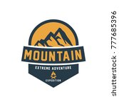retro styled vector mountain... | Shutterstock .eps vector #777685396