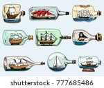ship in bottle vector boat in... | Shutterstock .eps vector #777685486