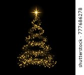 christmas tree card background. ... | Shutterstock . vector #777686278
