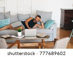 happy young blonde man lying... | Shutterstock . vector #777689602