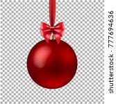 red xmas ball isolated with... | Shutterstock .eps vector #777694636
