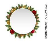 christmas banner with balls... | Shutterstock .eps vector #777695662