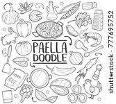 paella spanish recipe... | Shutterstock .eps vector #777695752