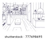 freehand sketch of apparel shop ... | Shutterstock .eps vector #777698695