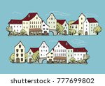 vector old german houses on... | Shutterstock .eps vector #777699802