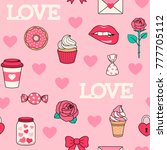seamless pattern of love... | Shutterstock .eps vector #777705112