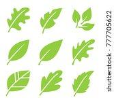 leaves icon set.  | Shutterstock .eps vector #777705622