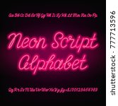 neon script alphabet font.... | Shutterstock .eps vector #777713596