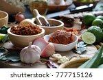 assortment of thai food cooking ... | Shutterstock . vector #777715126