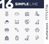 set of 16 pets outline icons... | Shutterstock .eps vector #777717736