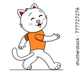 a walking white cat in an... | Shutterstock .eps vector #777727276