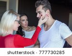 seductive blonde woman in red...   Shutterstock . vector #777730285