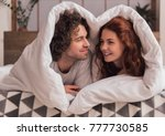 beautiful couple is talking and ... | Shutterstock . vector #777730585