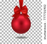 red christmas ball with ribbon | Shutterstock .eps vector #777731902