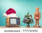 retro tv in santa hat ... | Shutterstock . vector #777731992