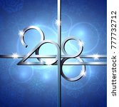 happy new year 2018 text design.... | Shutterstock .eps vector #777732712