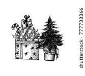 black mono color illustration... | Shutterstock .eps vector #777733366