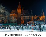 Small photo of BUDAPEST, HUNGARY - DECEMBER 17, 2017: The Vajdahunyad Castle and the ice rink of City Park (in Hungarian: Varosliget) are seen at Hosok tere (Heroes' square) on December 17, 2017 in Budapest, Hunga