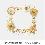design christmas frame with... | Shutterstock . vector #777742042