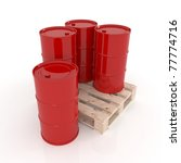 three red barrels standing on a ...   Shutterstock . vector #77774716