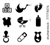 baby related items icon set in... | Shutterstock .eps vector #77775076