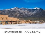 Small photo of Taos Pueblo New Mexico the land of Enchantment and home to the Southern Sangre De Cristo Mountains of the desert Southwest native indigenous Americans