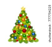 vector christmas tree decorated ... | Shutterstock .eps vector #777754225